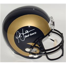 "Marshall Faulk Signed Rams Full-Size Helmet Inscribed ""HOF 20XI"" (JSA COA)"