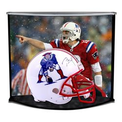 Tom Brady Signed Patriots Throwback Full-Size Helmet with Custom Acrylic Curve Display Case (TriStar
