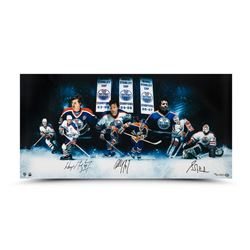"Wayne Gretzky, Paul Coffey  Grant Fuhr Signed ""Outstanding Oilers"" LE 36"" x 18"" Photo (UDA COA)"