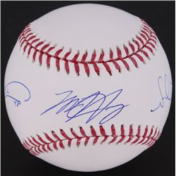 Jacob deGrom, Matt Harvey,  Noah Syndergaard Signed OML Baseball (MLB Hologram)