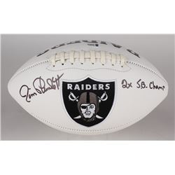 "Jim Plunkett Signed Raiders Logo Football Inscribed ""2x SB Champ"" (Beckett COA)"