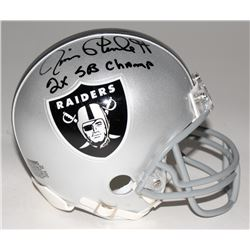 "Jim Plunkett Signed Raiders Mini-Helmet Inscribed ""2x Superbowl Champs"" (Beckett COA)"