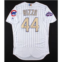 "Anthony Rizzo Signed Cubs Authentic Majestic 2016 World Series Jersey Inscribed ""2016 WS Champs"" (Fa"