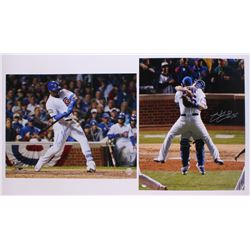 Lot of (2) Signed Cubs Photos with Jorge Soler  Hector Rondon (Schwartz COA)