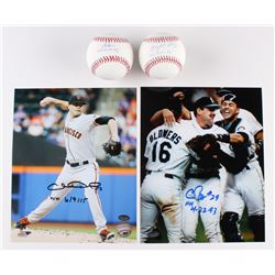 Lot of (4) Signed Baseball Items with Gaylord Perry, Chris Bosio  Chris Heston (Schwartz COA)