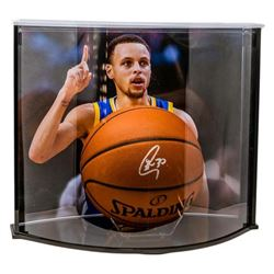 Stephen Curry Signed Official NBA Game Ball with Custom Curve Display Case (Fanatics Hologram)