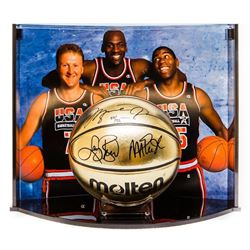 Michael Jordan, Larry Bird  Magic Johnson Signed Team USA LE Molten Gold Basketball Curve Display (U