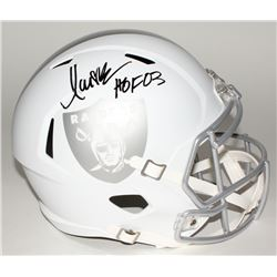 "Marcus Allen Signed Raiders Custom Matte White Full-Size Speed Ice Helmet Inscribed ""HOF 03"" (JSA CO"