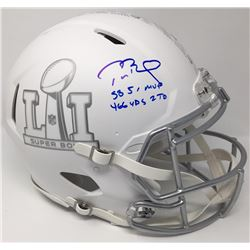 "Tom Brady Signed LE ""Super Bowl 51"" Custom Matte White ICE Full-Size Authentic Pro-Line Speed Helmet"