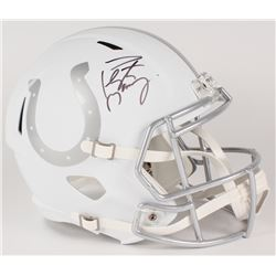 Peyton Manning Signed Colts Custom Matte White Full-Size Speed Ice Helmet (Fanatics Hologram)