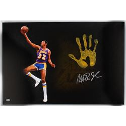 "Magic Johnson Signed Lakers 20"" x 31"" Giclee on Gallery Stretched Canvas with Original Handprint (JS"