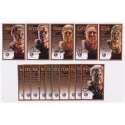 Lot of (15) Rams LE Bronze Bust Football Hall of Fame Postcards with (9) Unsigned Postcards,  (6) Si