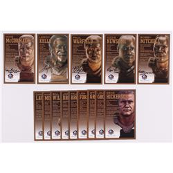 Lot of (14) Browns LE Bronze Bust Football Hall of Fame Postcards with (9) Unsigned Postcard,  (5) S