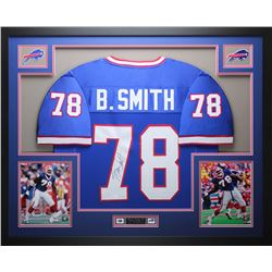 Bruce Smith Signed Bills 35x43 Custom Framed Jersey (JSA COA)