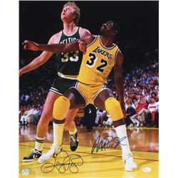 Magic Johnson  Larry Bird Signed 16x20 Photo (JSA COA  Bird Hologram)