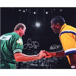 Magic Johnson  Larry Bird Signed 16x20 Photo (PSA LOA)