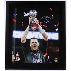 "Tom Brady Signed Patriots 2016 Super Bowl LI ""Trophy"" 26"" x 30"" Custom Framed Photo Display (Steiner"