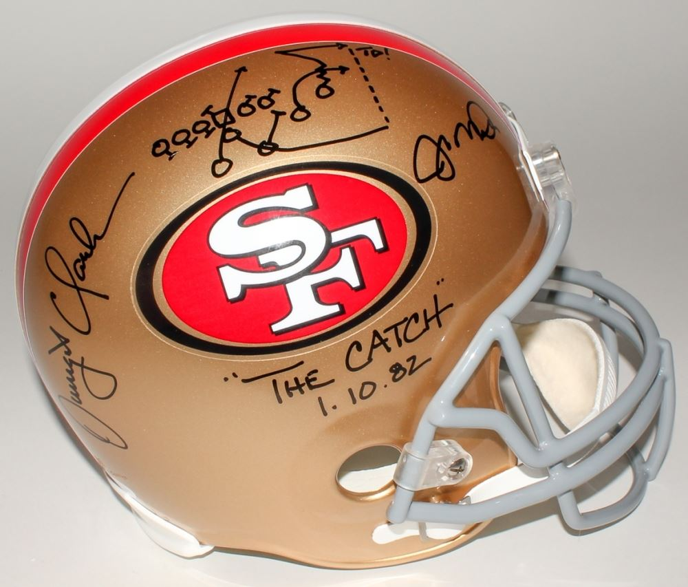 "Image 1 : Joe Montana Dwight Clark Signed 49ers ""The Catch"" Full-Size"