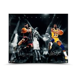 "Magic Johnson  LeBron James Dual-Signed ""Playmakers"" 20x24 Photo LE of 50 (UDA COA)"