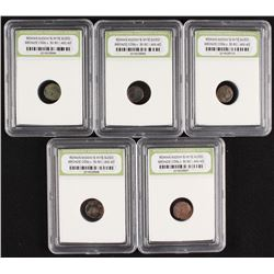 Lot of (5) Roman Widow's Mite Sized Bronze Coins 50 BC - 400 AD (INB Encapsulated)