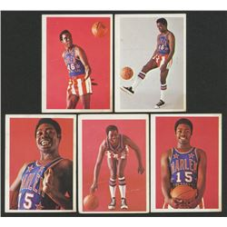 Lot of (5) 1971-72 Globetrotters with #3 Bob Showboat Hall, #6 Pabs Robertson, #5 Pabs Robertson, #4