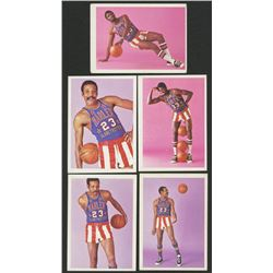 Lot of (5) 1971-72 Globetrotters with #79 Jackie Jackson, #78 Jackie Jackson, #48 Clarence Smith, #8