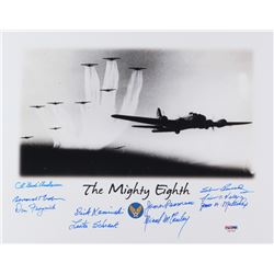 World War II 8th Air Force Veterans 11x14 Photo Signed by (10) with Bud Anderson (Ace), Bernard Nola