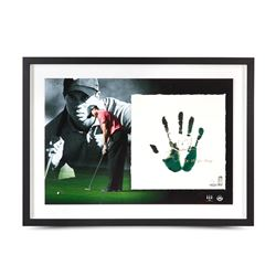 "Tiger Woods Signed 20"" x 28"" Custom Framed TEGATA Lithograph Display Inscribed ""08 U.S. Open Champ"""