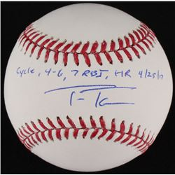 "Trea Turner Signed OML Baseball Inscribed ""Cycle - 4-6, 7 RBI, HR 4/25/17"" (MLB Hologram)"