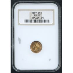 1889 $1 One Dollar Large Head Indian Princess Gold Coin (NGC MS 62)