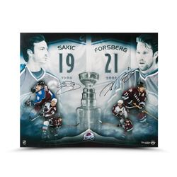 "Joe Sakic  Peter Forsberg Signed Avalanche LE ""2x Champs"" 20x24 Photo (UDA COA)"