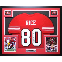 "Jerry Rice Signed 49ers 35"" x 43"" Custom Framed Jersey (JSA COA)"