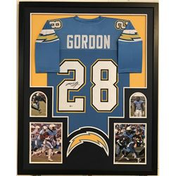 "Melvin Gordon Signed Chargers 34"" x 42"" Custom Framed Jersey (Beckett COA)"