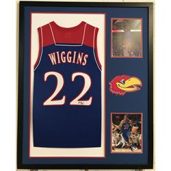 "Andrew Wiggins Signed Kansas Jayhawks 35"" x 43"" Custom Framed Jersey Display (JSA COA)"