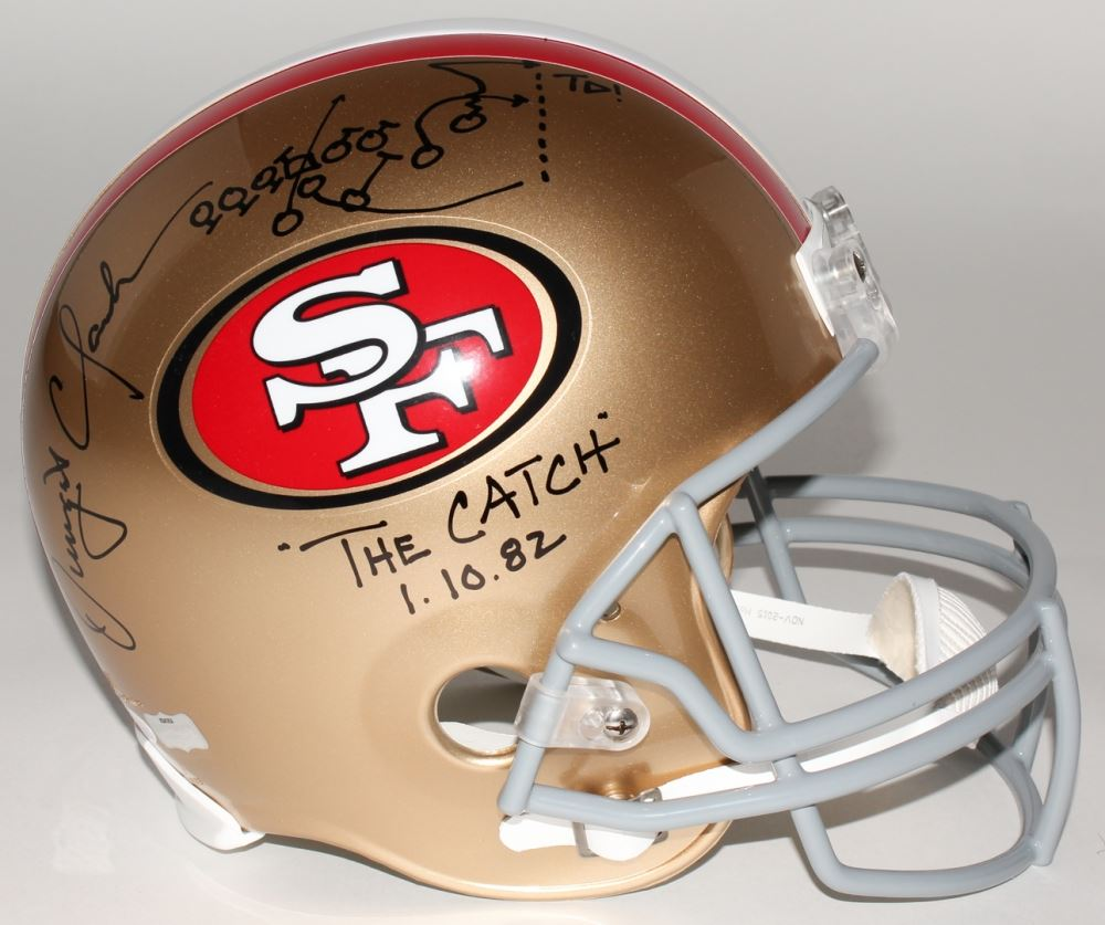 """Image 1 : Dwight Clark Signed 49ers """"The Catch"""" Full-Size Helmet with"""