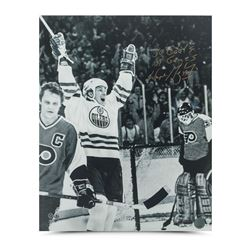 "Wayne Gretzky Signed Oilers 16x20 Photo Inscribed ""50 goals 39 games"" (UDA COA)"