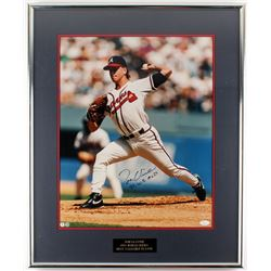 "Tom Glavine Signed Braves 22x27 Framed Photo Display Inscribed ""95 W.S. MVP"" (JSA COA)"