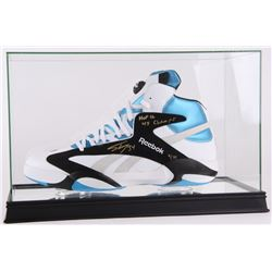 """Shaquille O'Neal Signed LE Reebok Size 22 Shoe Inscribed """"HOF 16""""  """"4x Champs"""" In High Quality Displ"""