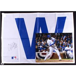 Lot of (2) Signed Cubs Baseball Items with (1) Jorge Soler 16x20 Photo  (1) Carl Edwards Jr. White W