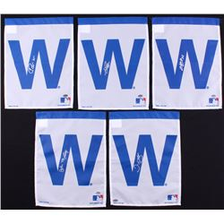 Lot of (5) Signed Cubs 10.5x14 White W Garden Flags with (1) Chris Bosio, (1) John Mallee, (1) Dave