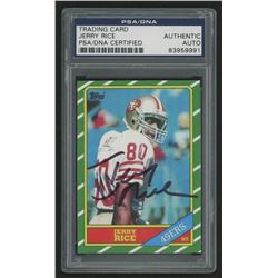 Jerry Rice Signed 1986 Topps #161 Rookie Card Reprint (PSA Encapsulated)