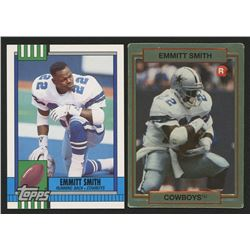 Lot of (2) Emmitt Smith Rookie Cards with 1990 Topps Traded #27T RC  1990 Action Packed Rookie Updat