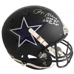 "Roger Staubach Signed Cowboys Custom Matte Black Full-Size Helmet Inscribed ""HOF '85""  ""SB VI MVP"" ("