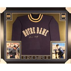 Lou Holtz Signed Notre Dame Fighting Irish 35x43 Custom Framed Jersey (Steiner COA)