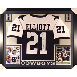 Ezekiel Elliott Signed Cowboys 44x36 Custom Framed Throwback Jersey (JSA COA)