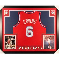"Julius ""Dr. J"" Erving Signed 76ers 44x36 Custom Framed Jersey (JSA COA)"
