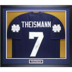 "Joe Theismann Signed Notre Dame Fighting Irish 35"" x 43"" Custom Framed Jersey Inscribed ""Go Irish!"""