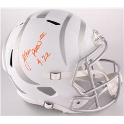 "John Ross Signed Bengals Custom Matte White Full-Size Speed Ice Helmet Inscribed ""4.22"" (Ross Hologr"