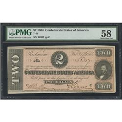 1864 $2 Two Dollars Confederate States of America Richmond CSA Bank Note Bill (T-70) (PMG 58)