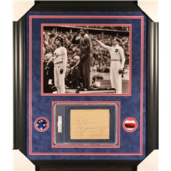 Jesse Owens Signed 1936 Olympic 23x27 Custom Framed Cut Display with Inscription (PSA Encapsulated)